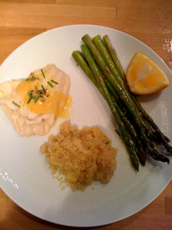 Alaskan Cod with Citrus Wine Sauce, Roasted Asparagus, and Quinoa