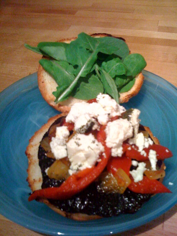 Grilled Portabella Sandwiches with pepper and onion medley, topped with goat cheese