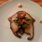 Seared Black Cod served on Pommes Paillasson topped with Chanterelles