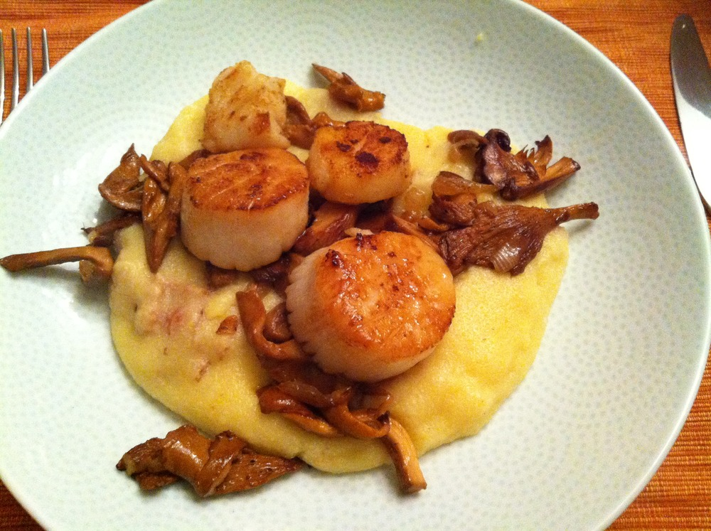 Seared Sea Scallops on a bed of Bacon Polenta Topped with Chanterelles