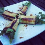 Grilled Eggplant Carpaccio, Stuffed with Fontina and Arugula and Drizzled with Arbequina Olive Oil and Balsamic Vinegar