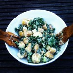 Kale Salad with Caesar Dressing and New Potatoes