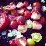 Cherry tomatoes ready to be roasted