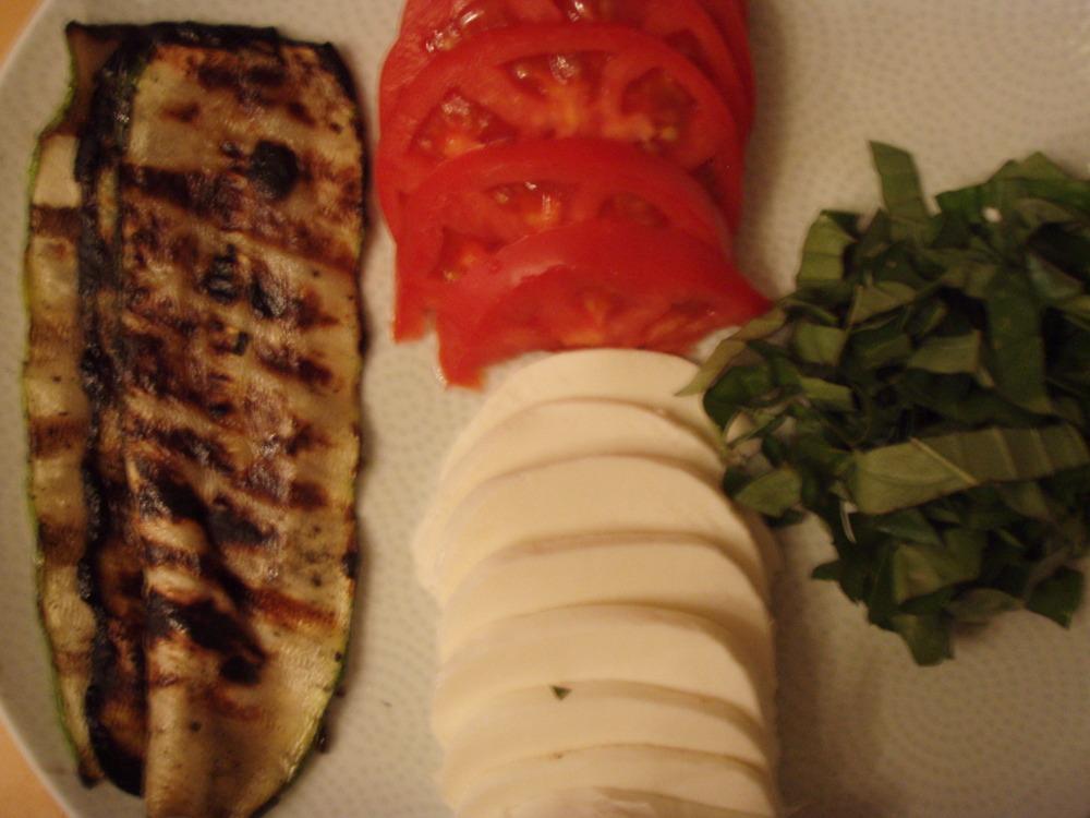 Zucchini, Tomatoes, Mozzarella, Basil
