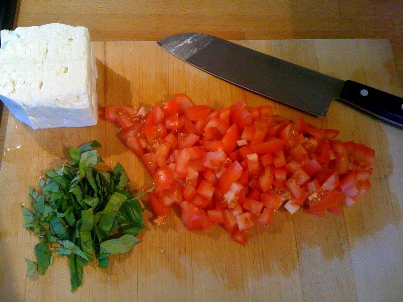 Feta, tomatoes, basil