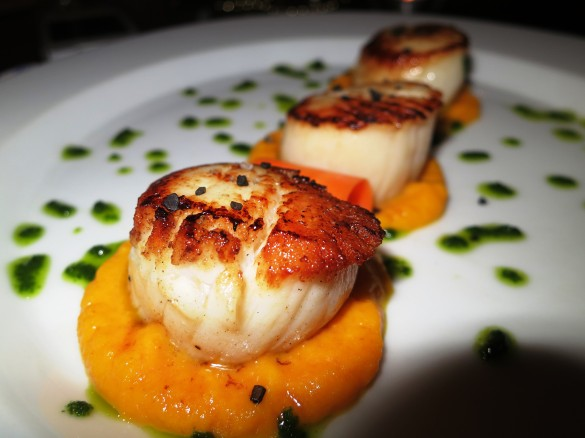 Seared Scallops with Carrot Ambrosia and Winter Pesto