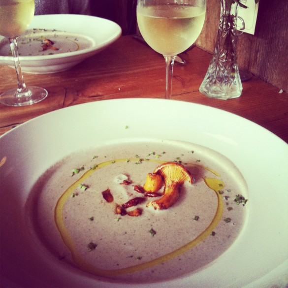 Wild Mushroom Bisque, Finished with Chanterelles and Truffle Oil
